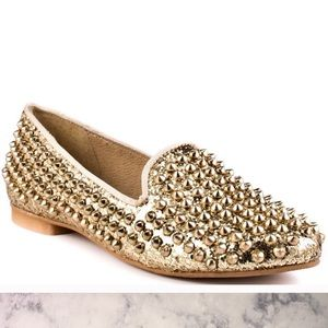 USED. Steve Madden Gold Studded Flats.